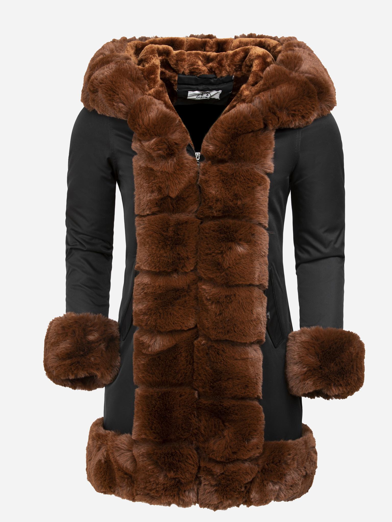 Artika Icewear Winterjas Dames L816-1030 Black Camel Maat: 2XL