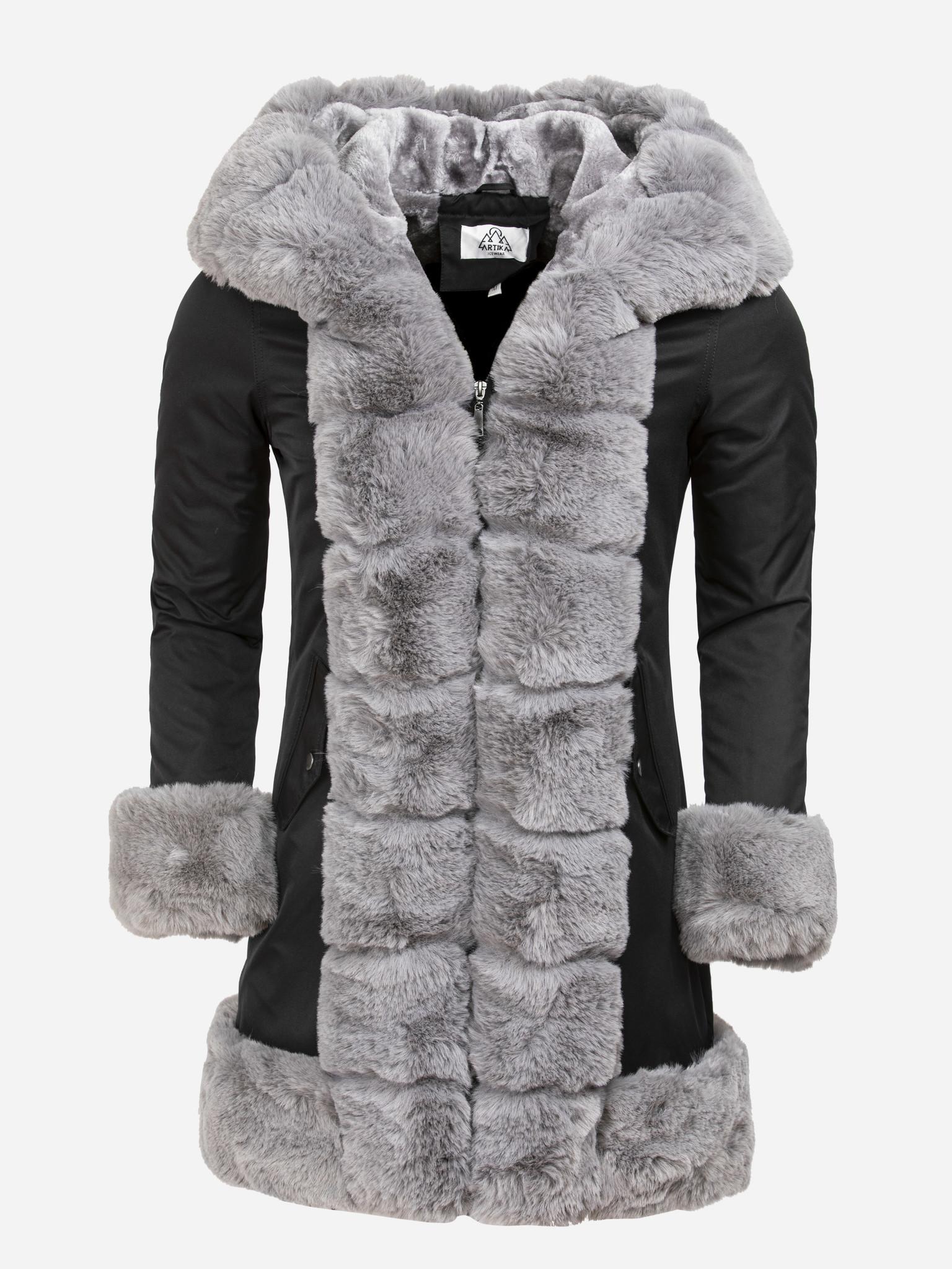 Artika Icewear Winterjas Dames L816-1023 Black Grey Maat: XL