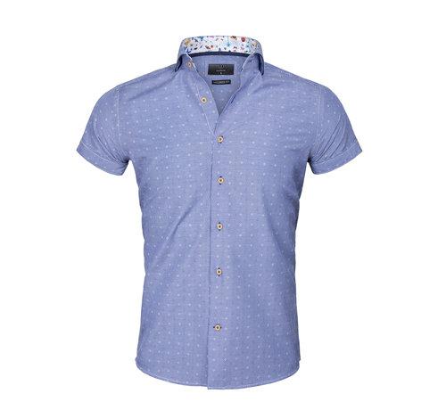 Gaznawi Overhemd Korte Mouw 65037 Olbia Royal Blue
