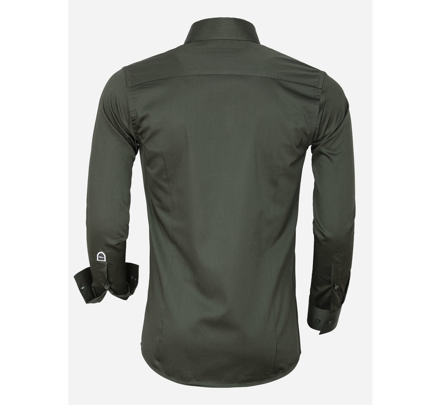 Overhemd Lange Mouw 75565 Dark Green