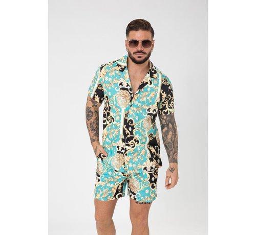Wam Denim Shirt en Short Bm1212-14 Turqoise