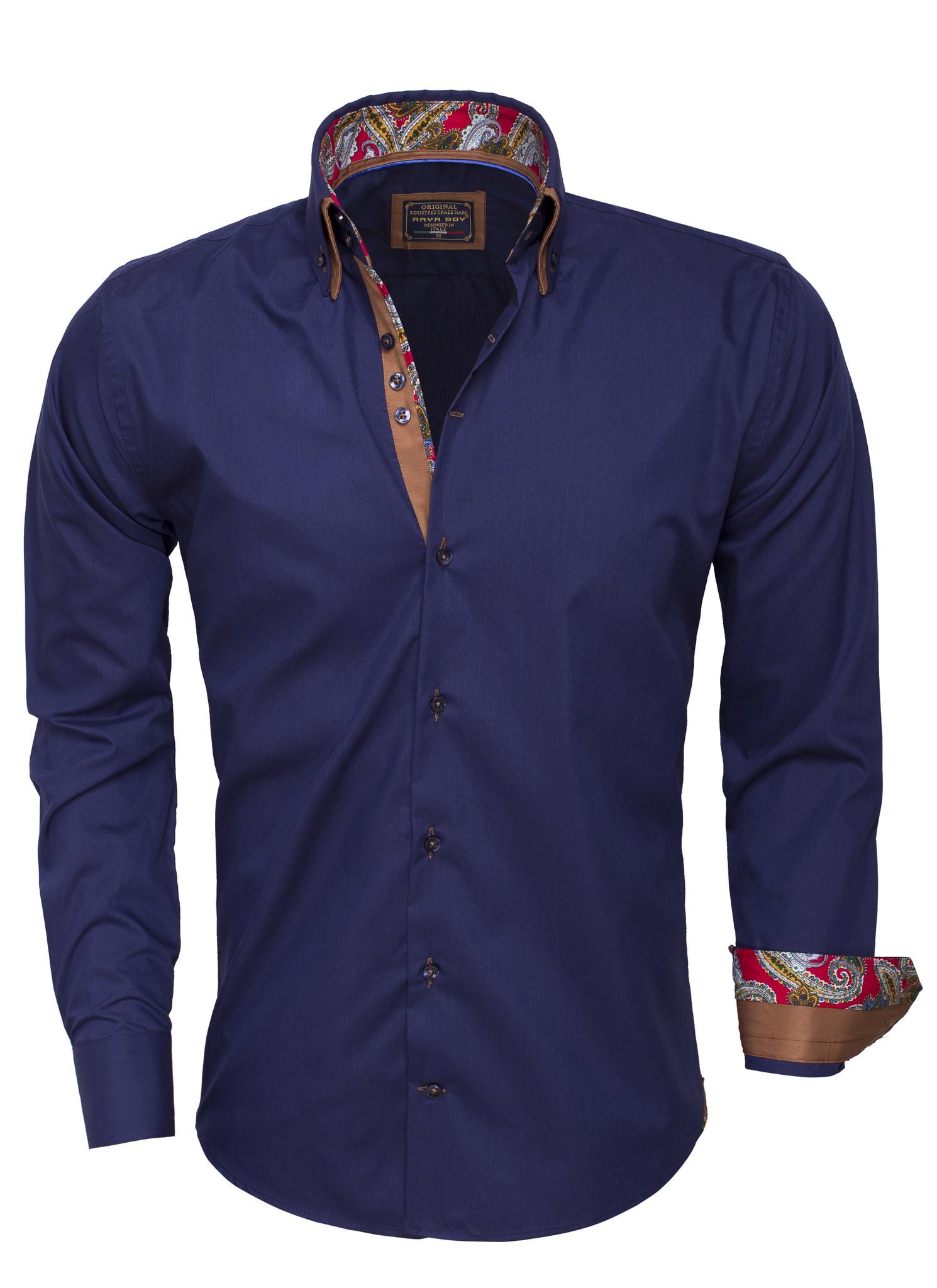 Overhemd Lange Mouw 85254 Navy