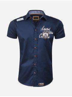 Wam Denim Overhemd Korte Mouw 75624 Mataro Navy