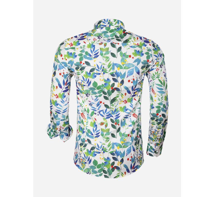 Overhemd Lange Mouw 75558 White Green