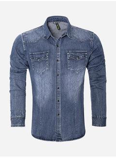 Wam Denim Shirt Long Sleeve CA-628 Blue