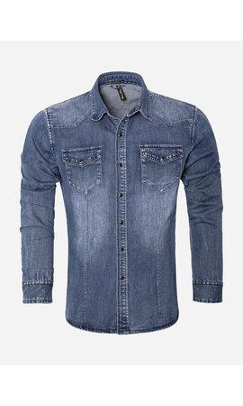 Wam Denim Overhemd Lange Mouw CA628 Blue
