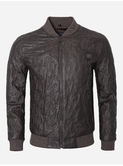 Wam Denim Leather Jacket 91007 Brown