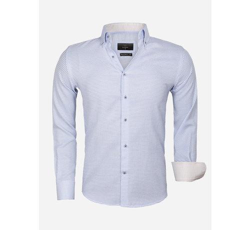 Gaznawi Overhemd Lange Mouw 65021 Ancona Blue
