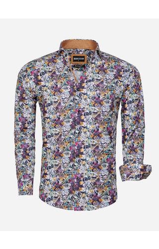 Wam Denim Overhemd Lange Mouw 75560 Pisa Dark Navy Peru