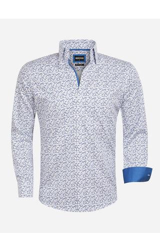Wam Denim Shirt Long Sleeve 75561 White Royal Blue