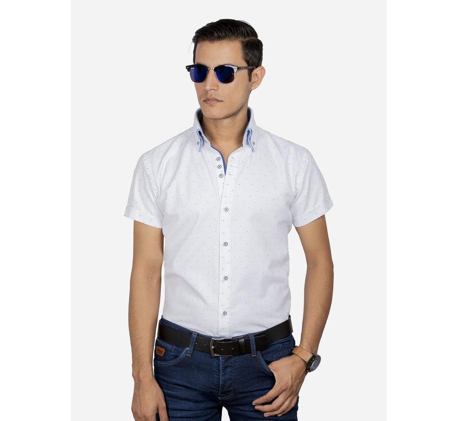 Overhemd Korte Mouw 65028 Cuneo White Royal Blue