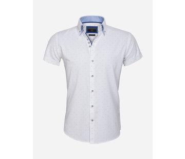Gaznawi Overhemd Korte Mouw 65028 Cuneo White Royal Blue
