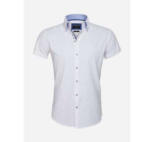 Gaznawi Shirt Short Sleeve 65028 Cuneo White Royal Blue