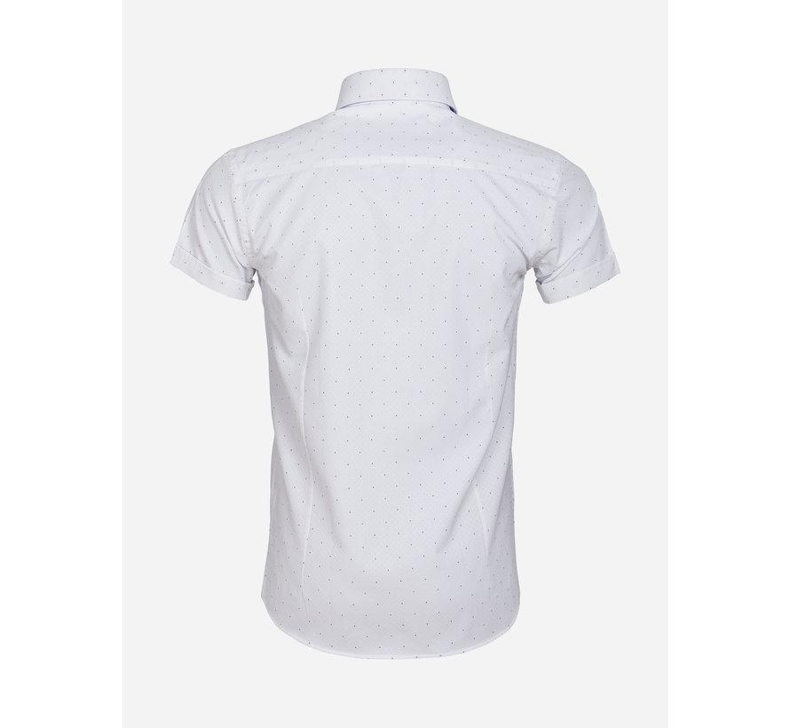 Shirt Short Sleeve 65028 Cuneo White Royal Blue
