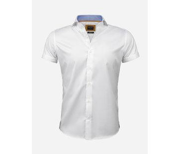 Wam Denim Overhemd Korte Mouw Flaes White