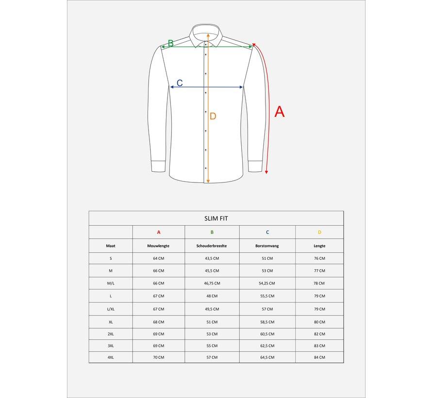 Overhemd Lange Mouw 75520 Ravenna White Indigo