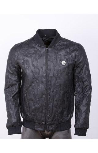 Wam Denim Leather Jacket 91007 Black