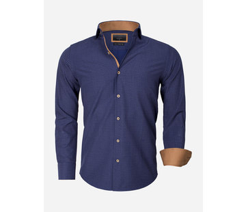 Gaznawi Overhemd Lange Mouw 65013 Brindisi Navy Beige