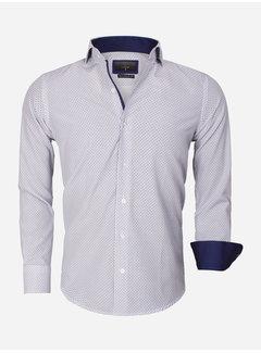 Gaznawi Shirt Long Sleeve 65013 White Royal Blue