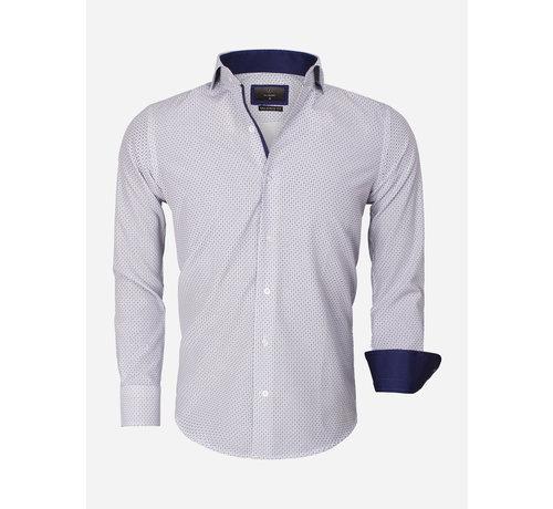 Gaznawi  BlueShirt Long Sleeve 65013 White Royal Blue