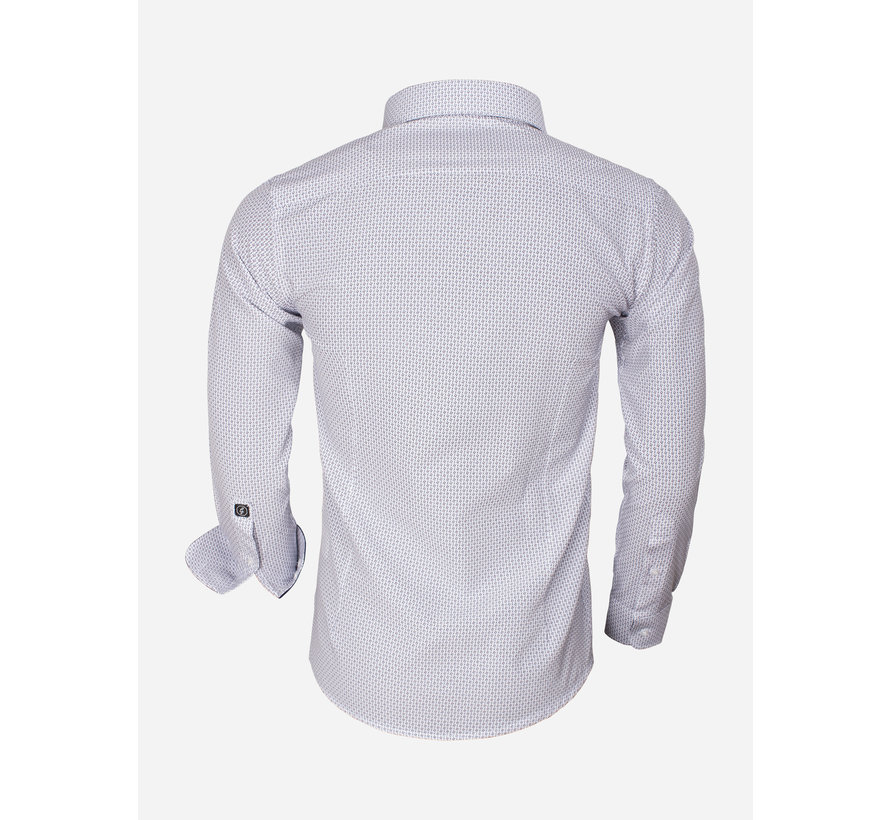 BlueShirt Long Sleeve 65013 White Royal Blue