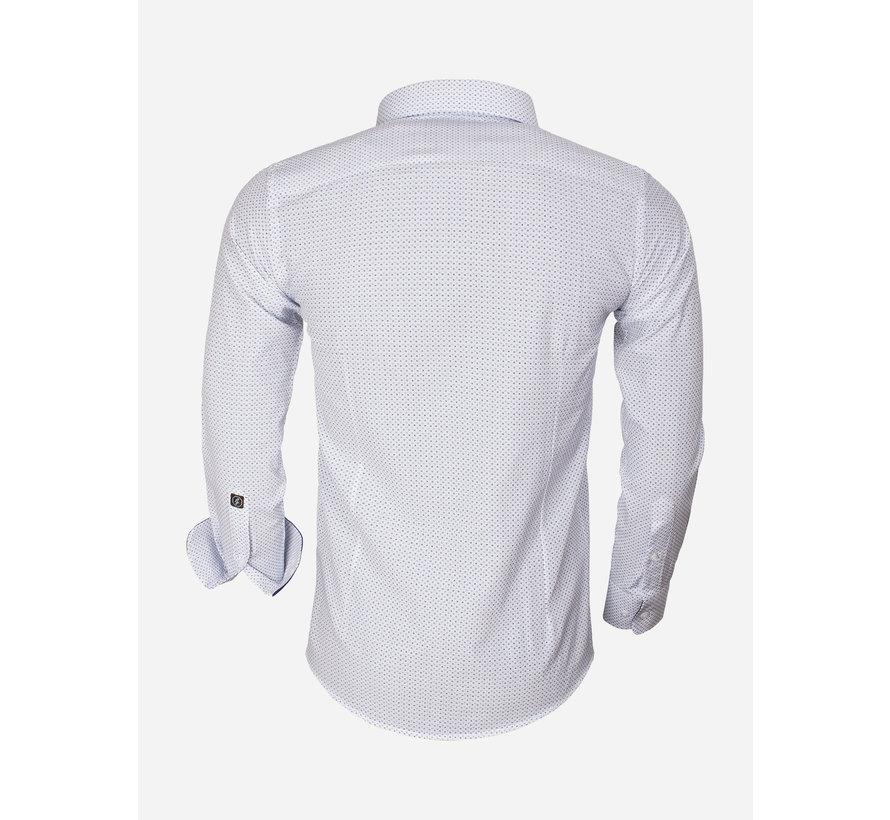 Shirt Long Sleeve 65013 Brindisi White Turquoise