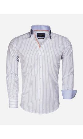 Gaznawi Overhemd Lange Mouw 65017 Bergamo White Blue
