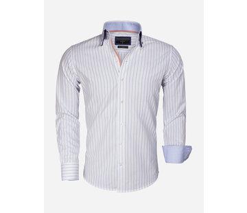 Gaznawi Shirt Long Sleeve 65017 Bergamo White Blue