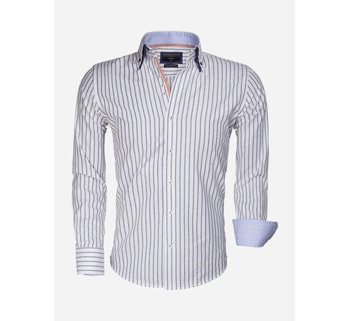 Gaznawi Overhemd Lange Mouw 65017 Bergamo White Navy