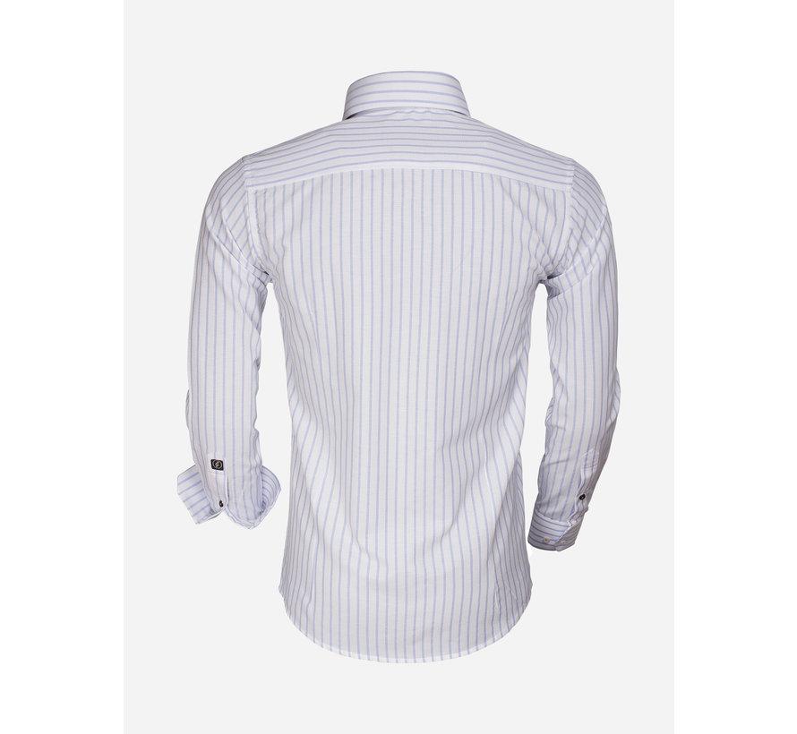 Overhemd Lange Mouw 65017 Bergamo White Blue