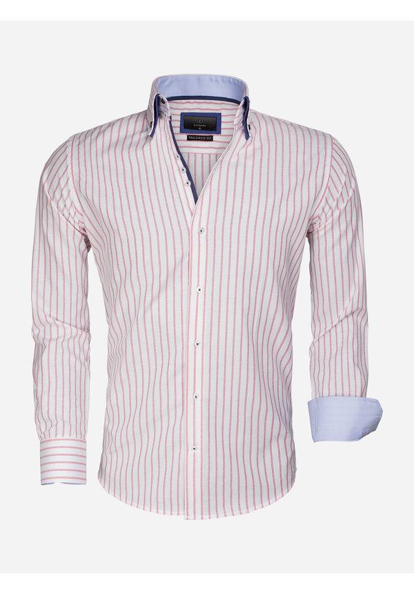 Overhemd Lange Mouw 65017 Bergamo White Pink