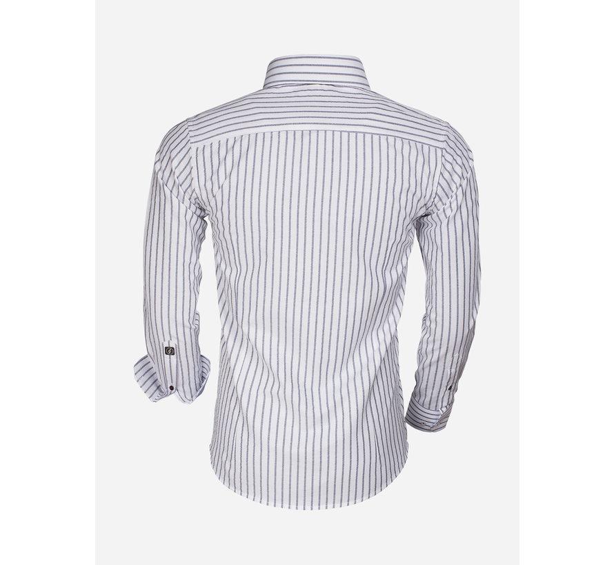 Overhemd Lange Mouw 65017 Bergamo White Navy