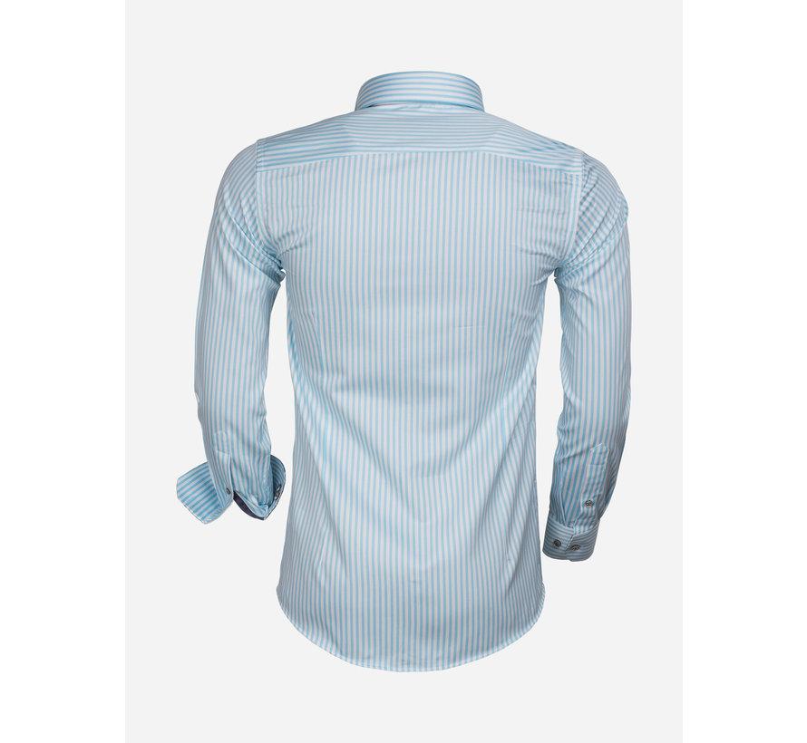 Overhemd Lange Mouw 75544 Turquoise