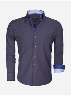 Gaznawi Overhemd Lange Mouw 65015 Benevento Navy Brown