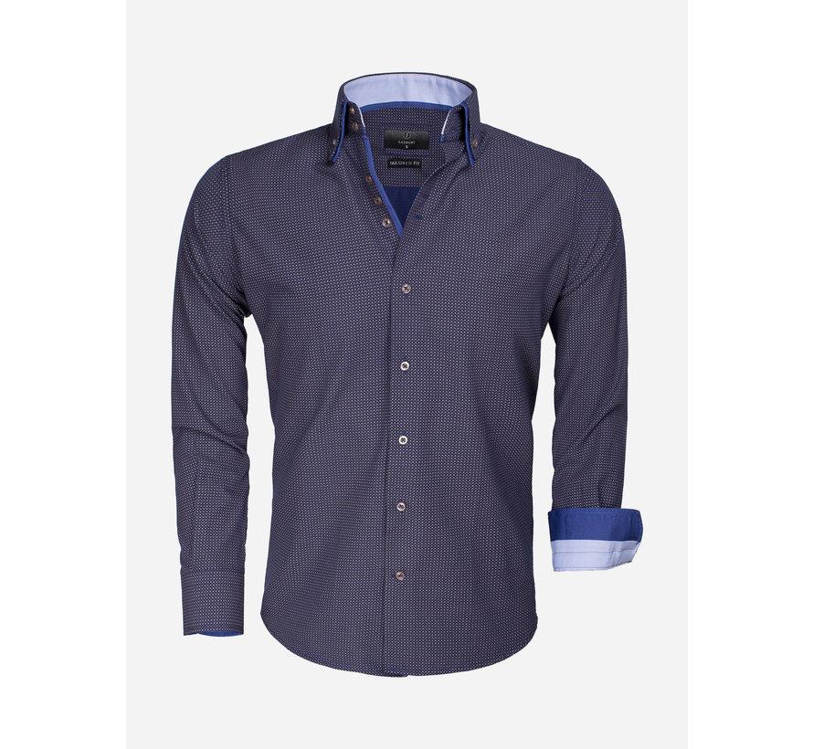 Shirt Long Sleeve 65015 Benevento Navy Brown