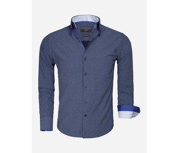 Gaznawi Overhemd Lange Mouw 65015 Benevento Dark Navy White