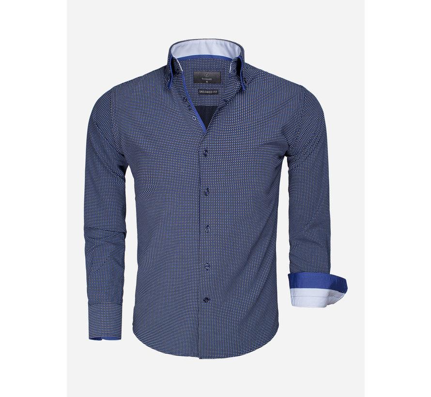 Overhemd Lange Mouw 65015 Benevento Dark Navy White