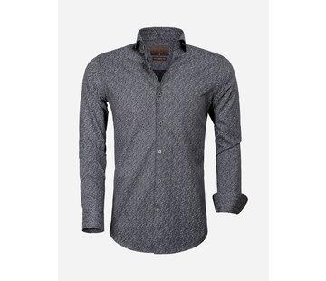 Gaznawi Overhemd Lange Mouw 65000 Cagliari Black Anthracite