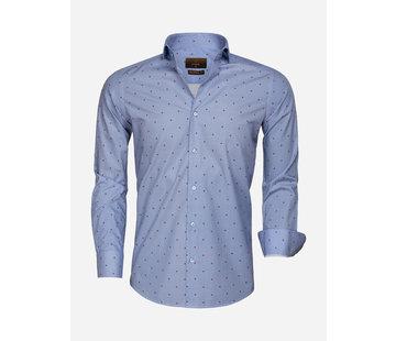 Gaznawi Overhemd Lange Mouw 65000 Cagliari Dark Blue Red