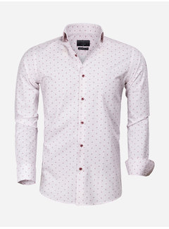 Gaznawi Overhemd Lange Mouw 65000 Cagliari White Dark Red