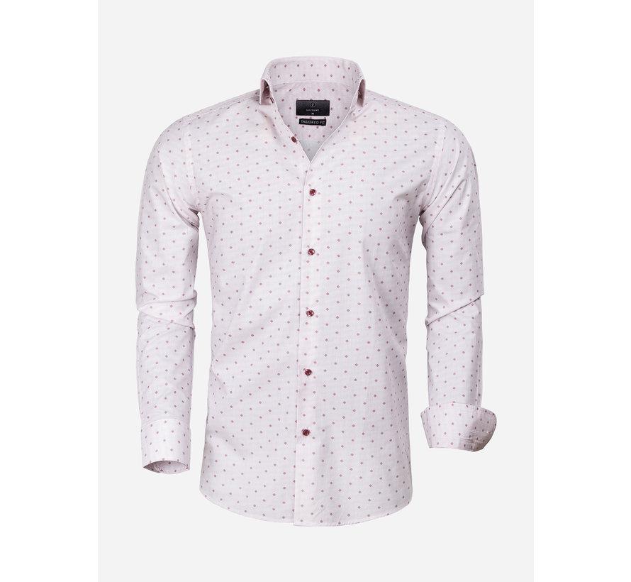 Overhemd Lange Mouw 65000 Cagliari White Dark Red