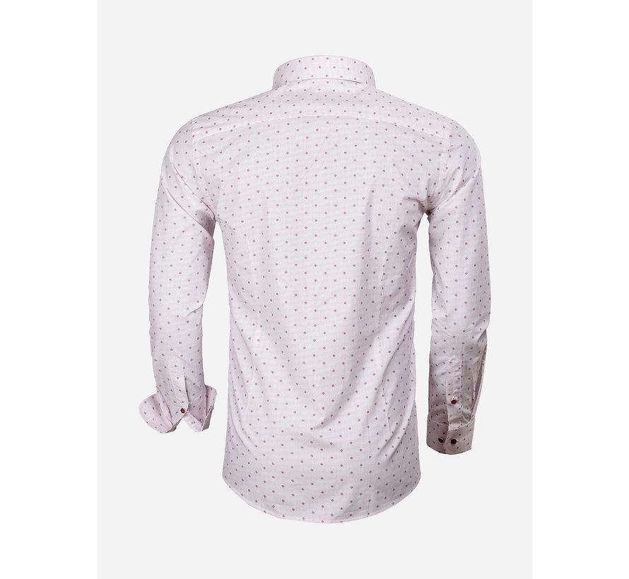 Shirt Long Sleeve 65000 Cagliari White Dark Red