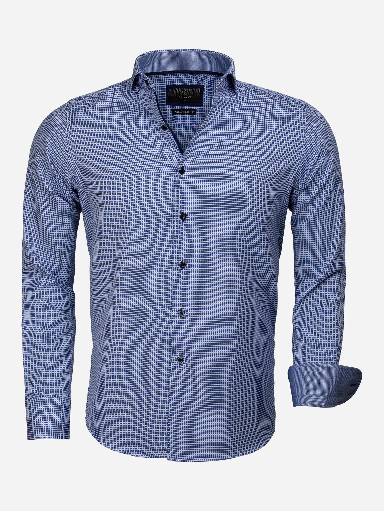 Gaznawi Overhemd Lange Mouw 65024 Arezzo Royal Blue Maat: S