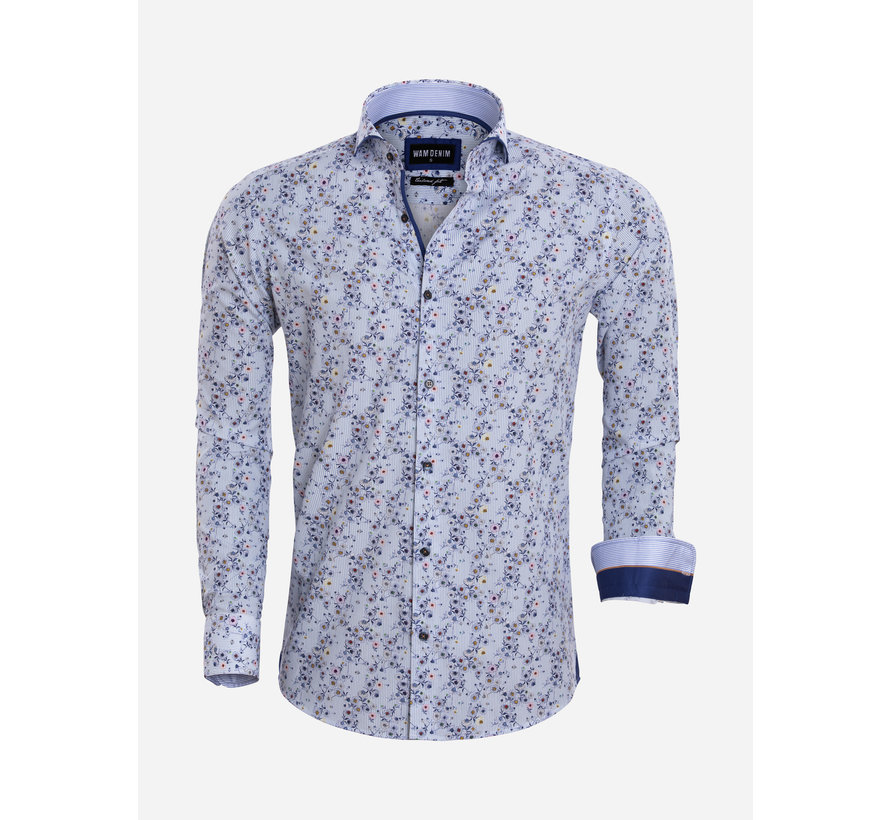 Shirt Long Sleeve 75567 Verona White Blue