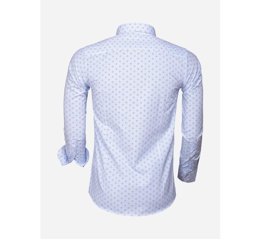 Overhemd Lange Mouw 85282 White Blue
