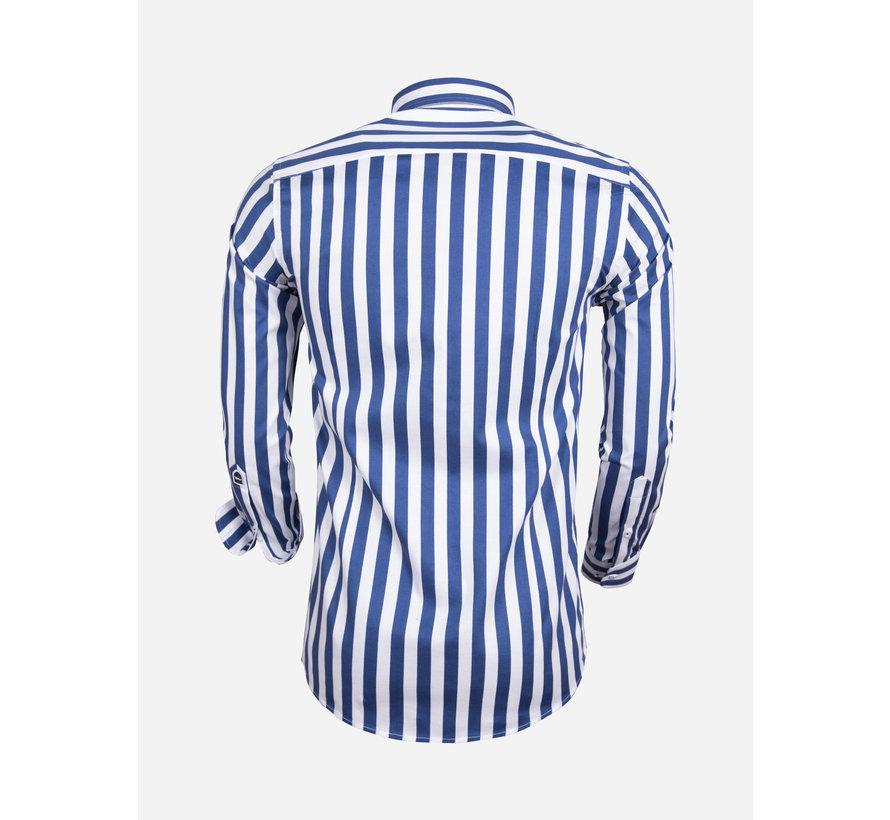 Overhemd Lange Mouw 75588 White Navy