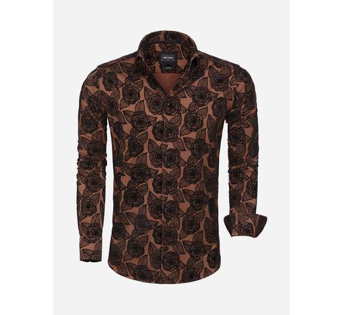 Wam Denim Overhemd Lange Mouw 75616 Light Brown