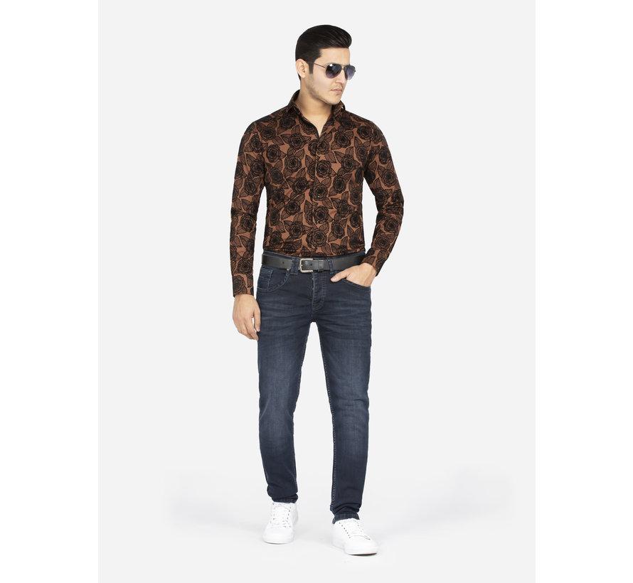 Overhemd Lange Mouw 75616 Light Brown