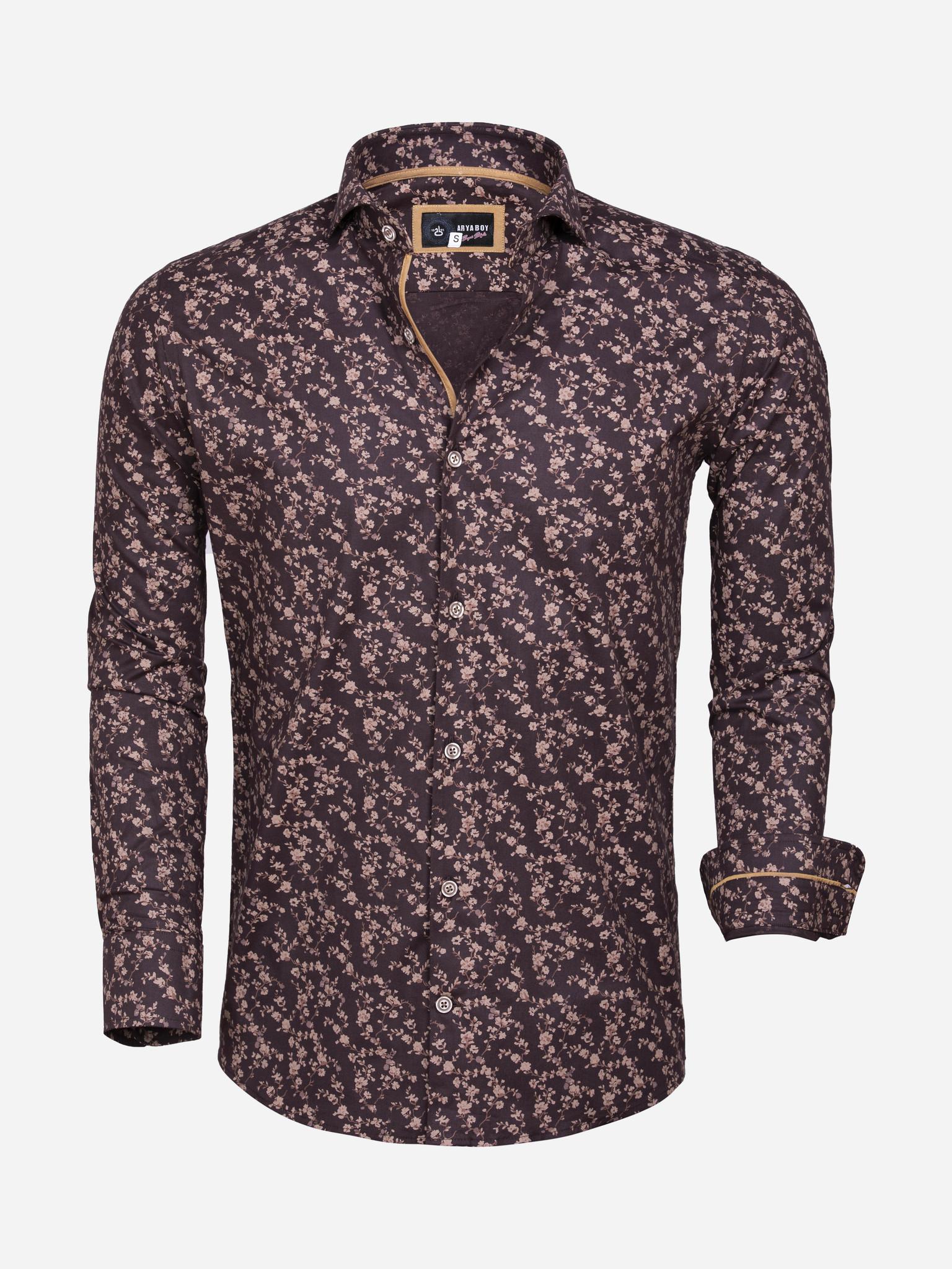 Arya Boy Overhemd Lange Mouw 85281 Brown Maat: L