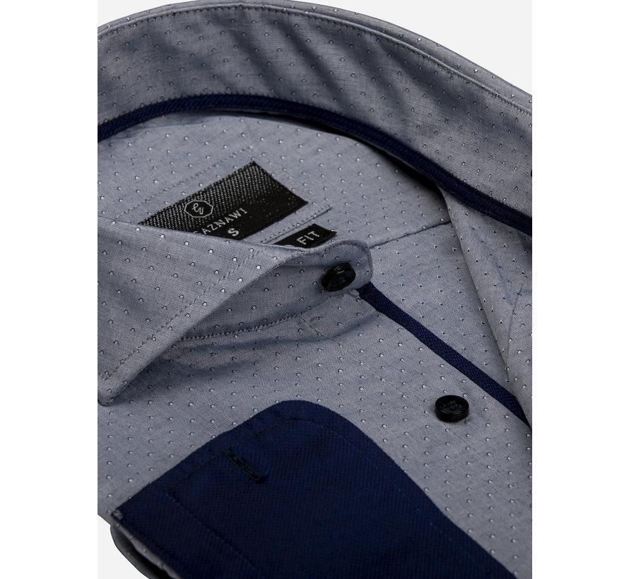 Overhemd Lange Mouw 65022 Aosta Navy White